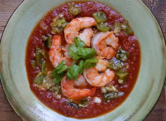 Pan Roasted Shrimp with Tomato, Chilies and Mezcal