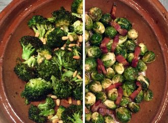 Roasting Brocolli and Brussel Sprouts